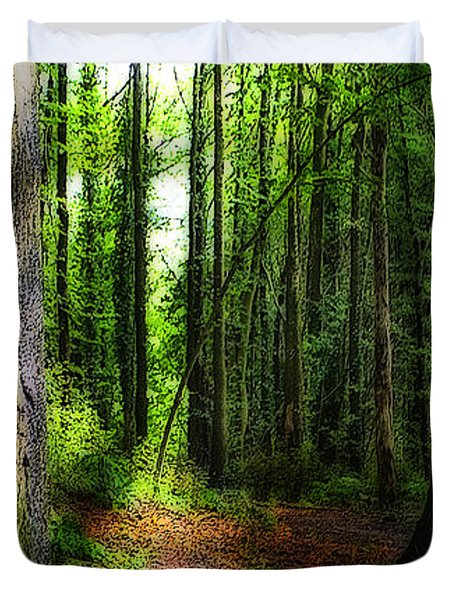 Light Through The Trees Duvet Cover by Meirion Matthias