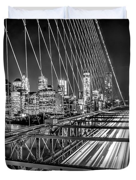 Light Trails Of Manhattan Duvet Cover by Az Jackson