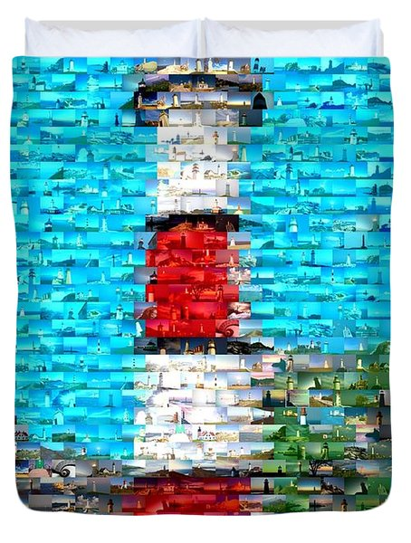 Lighthouse Made Of Lighthouses Mosaic Duvet Cover by Paul Van Scott