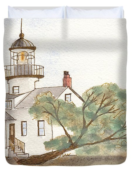 Lighthouse Sketch Duvet Cover by Ken Powers