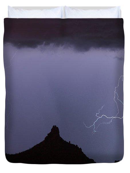 Lightnin At Pinnacle Peak Scottsdale Arizona Duvet Cover by James BO  Insogna