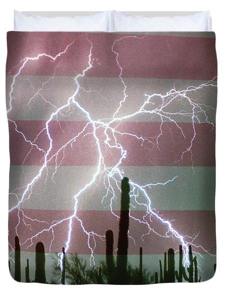 Lightning Storm in the USA Desert Flag Background Duvet Cover by James BO  Insogna