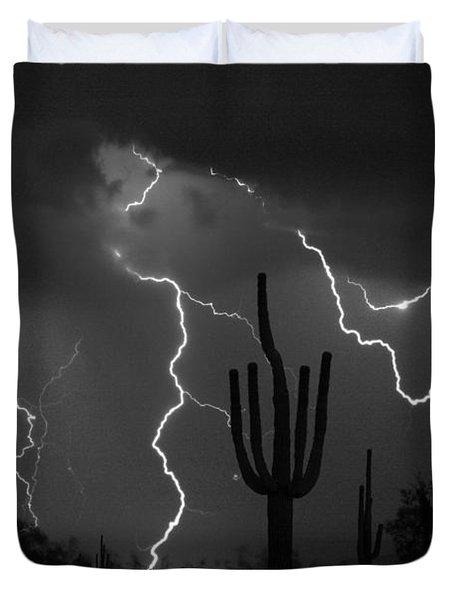 Lightning Storm Saguaro Fine Art Bw Photography Duvet Cover by James BO  Insogna
