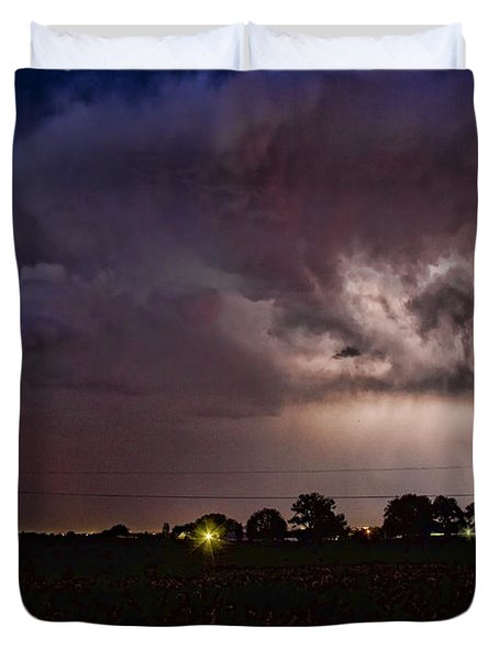 Lightning Stormy Weather Of Sunflowers Duvet Cover by James BO  Insogna
