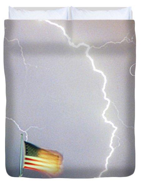 Lightning Strikes God Bless The Usa Duvet Cover by James BO  Insogna