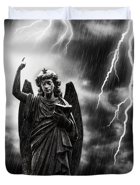 Lightning Strikes The Angel Gabriel Duvet Cover by Amanda Elwell
