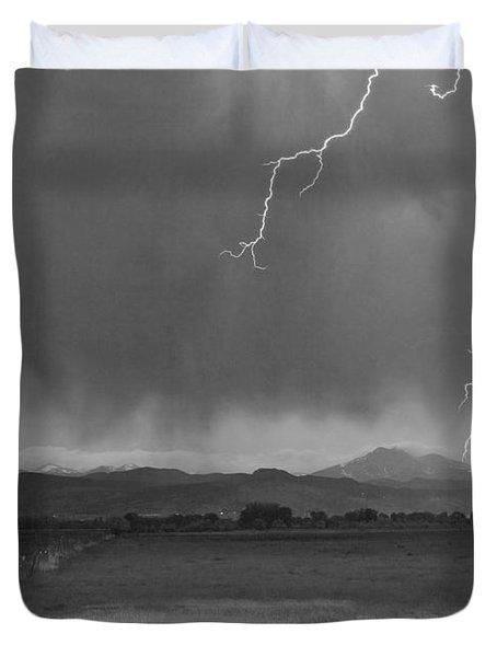 Lightning Striking Longs Peak Foothills 5BW Duvet Cover by James BO  Insogna