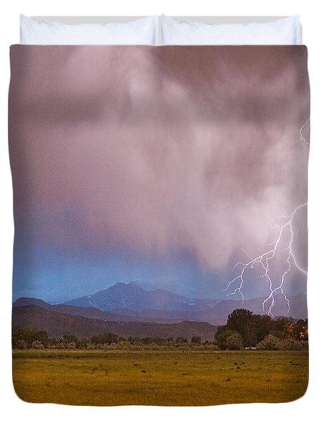 Lightning Striking Longs Peak Foothills 7c Duvet Cover by James BO  Insogna