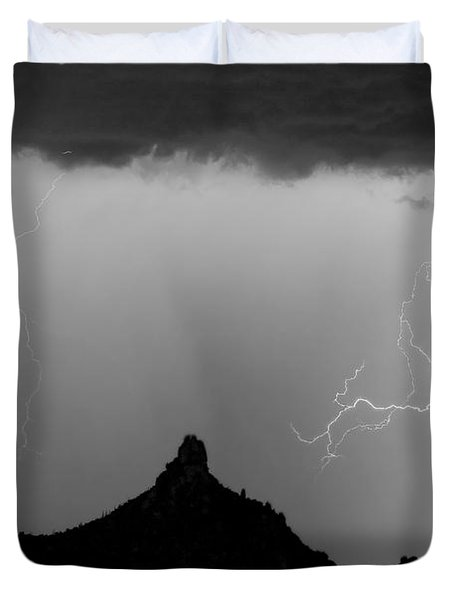 Lightning Thunderstorm At Pinnacle Peak Bw Duvet Cover by James BO  Insogna