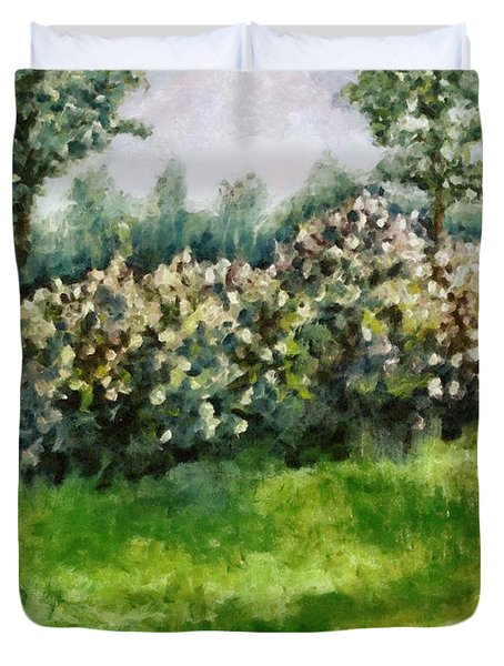 Lilac Bushes In Springtime Duvet Cover by Michelle Calkins