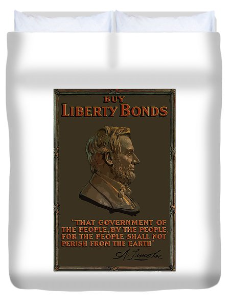 Lincoln Gettysburg Address Quote Duvet Cover by War Is Hell Store