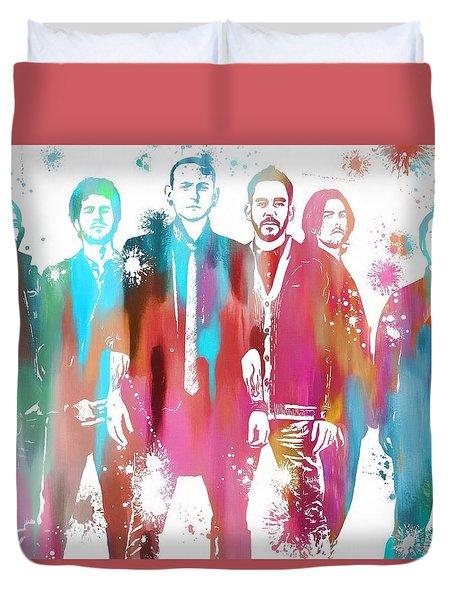 Linkin Park Watercolor Paint Splatter Duvet Cover by Dan Sproul