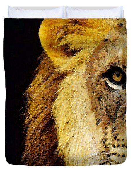 Lion Art - Face Off Duvet Cover by Sharon Cummings
