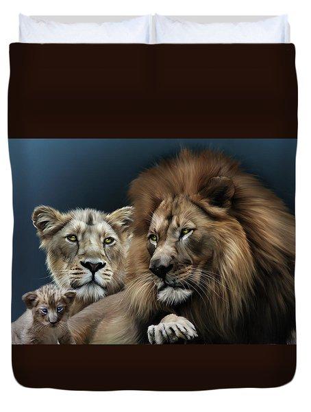 Lion Family Duvet Cover by Julie L Hoddinott