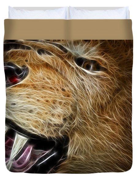 Lion Fractal Duvet Cover by Shane Bechler