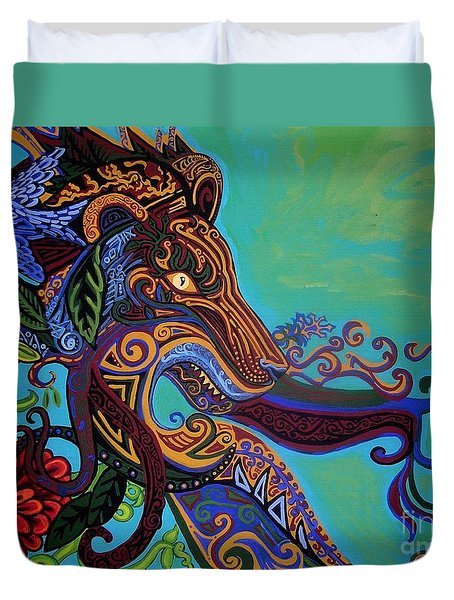 Lion Gargoyle Duvet Cover by Genevieve Esson