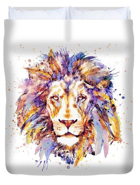 Lion Head Duvet Cover by Marian Voicu