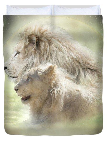 Lion Moon Duvet Cover by Carol Cavalaris