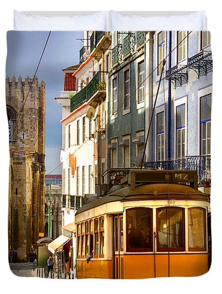 Lisbon Tram Duvet Cover by Carlos Caetano