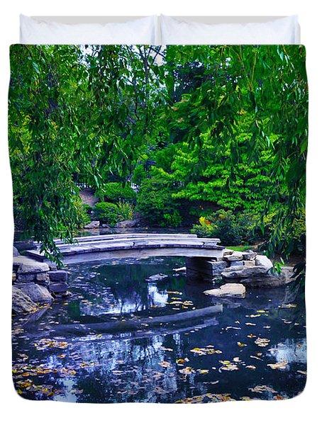 Little Bridge - Japanese Garden Duvet Cover by Bill Cannon