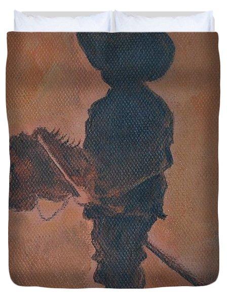 Little Rider Duvet Cover by Leslie Allen