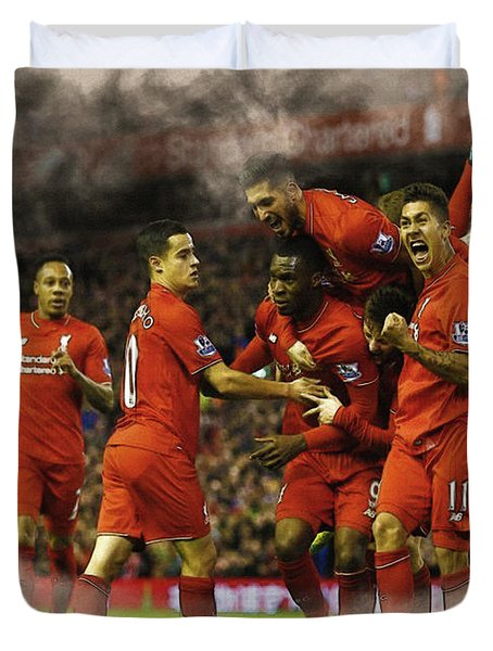 Liverpool V Leicester City Duvet Cover by Don Kuing