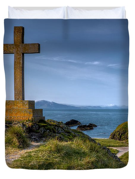 Llanddwyn Cross Duvet Cover by Adrian Evans