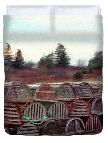 Lobster Traps Duvet Cover by Jeff Kolker
