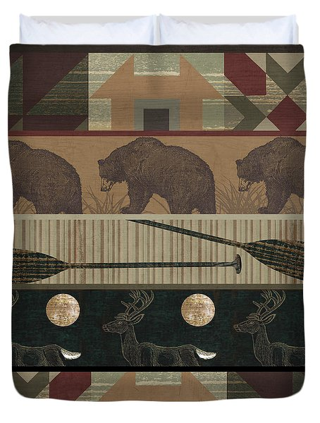 Lodge Cabin Quilt Duvet Cover by Mindy Sommers