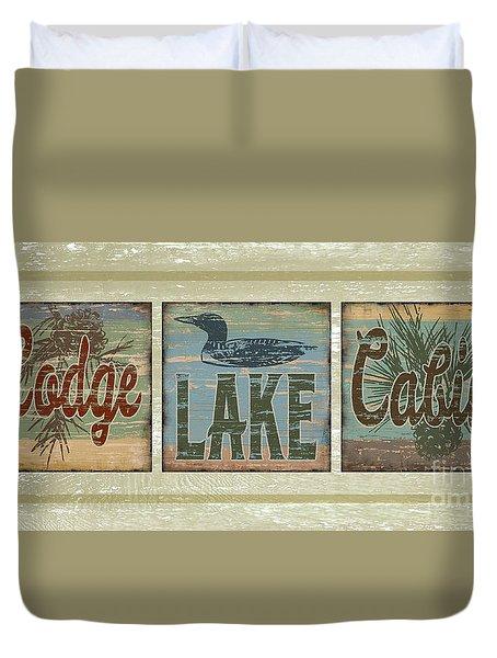 Lodge Lake Cabin Sign Duvet Cover by Joe Low