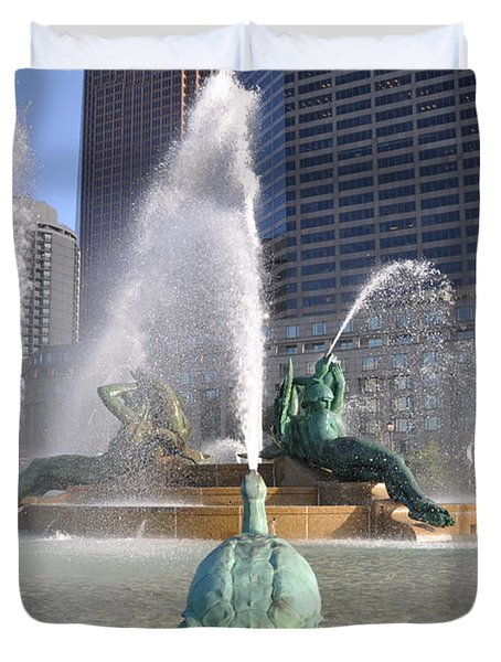 Logan Circle Fountain Duvet Cover by Bill Cannon