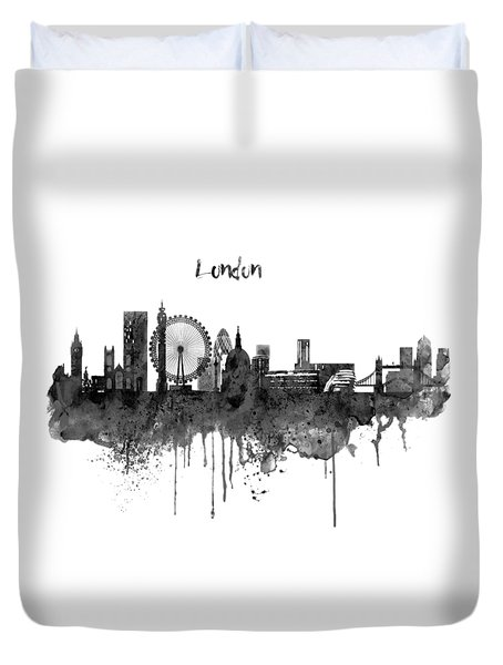 London Black And White Skyline Watercolor Duvet Cover by Marian Voicu