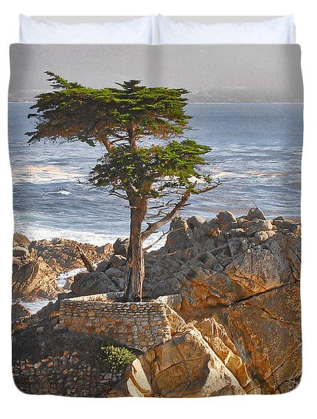 Lone Cypress - The icon of Pebble Beach California Duvet Cover by Christine Till