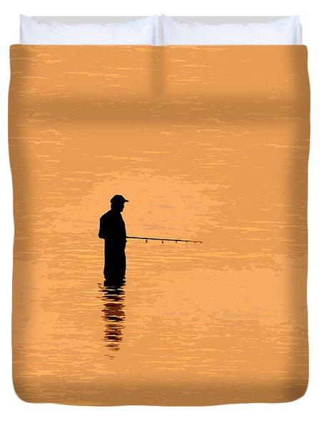 Lone Fisherman Duvet Cover by David Lee Thompson