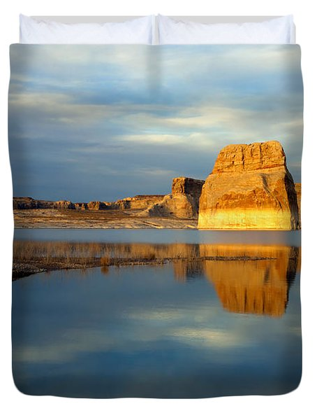 Lone Rock Glow Duvet Cover by Mike  Dawson