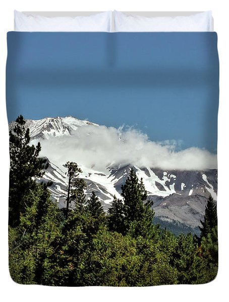 Lonely as God and white as a winter moon - Mount Shasta California Duvet Cover by Christine Till