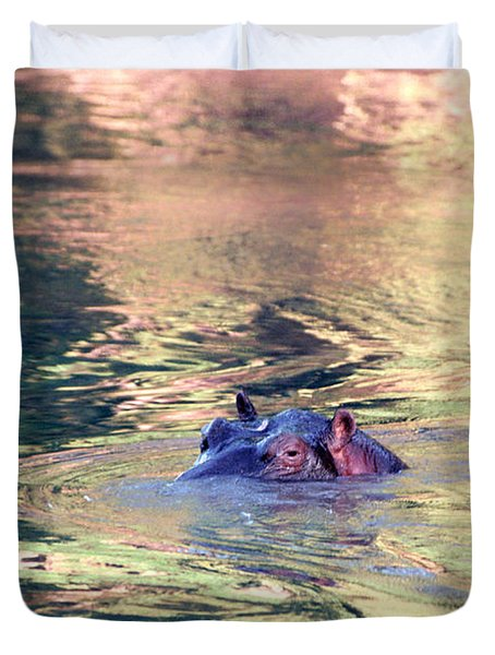 Lonely Hippo Duvet Cover by Sebastian Musial
