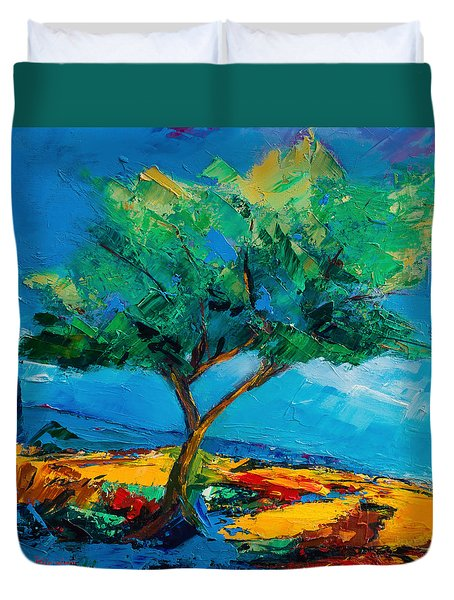 Lonely Olive Tree Duvet Cover by Elise Palmigiani