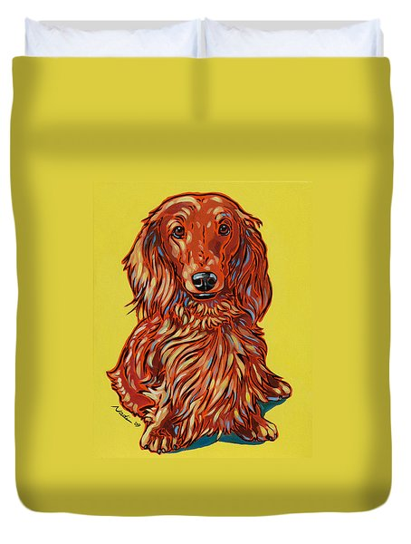 Long Haired Dachshund Duvet Cover by Nadi Spencer