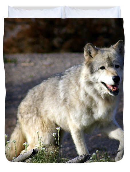 Lonly Wolf Duvet Cover by Marty Koch