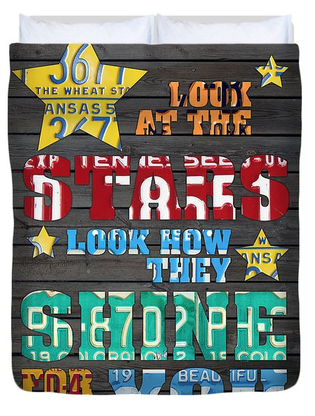 Look At The Stars Coldplay Yellow Inspired Typography Made Using Vintage Recycled License Plates Duvet Cover by Design Turnpike