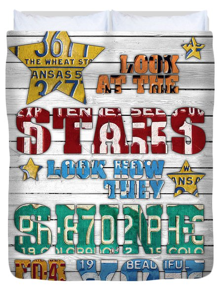 Look At The Stars Coldplay Yellow Inspired Typography Made Using Vintage Recycled License Plates V2 Duvet Cover by Design Turnpike