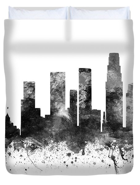 Los Angeles California Cityscape 02bw Duvet Cover by Aged Pixel