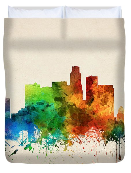 Los Angeles California Skyline 05 Duvet Cover by Aged Pixel