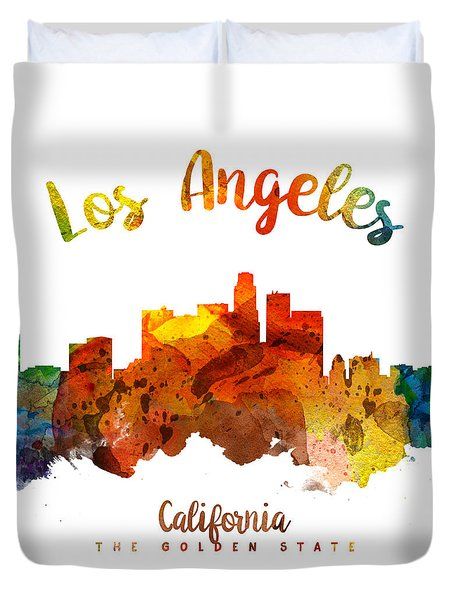Los Angeles California Skyline 26 Duvet Cover by Aged Pixel