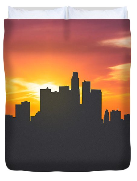 Los Angeles California Sunset Skyline 01 Duvet Cover by Aged Pixel