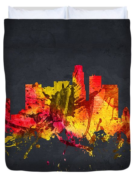 Los Angeles Cityscape 07 Duvet Cover by Aged Pixel