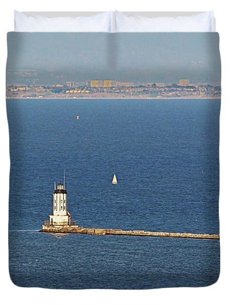 Los Angeles Harbor Light - Angel's Gate - California Duvet Cover by Christine Till
