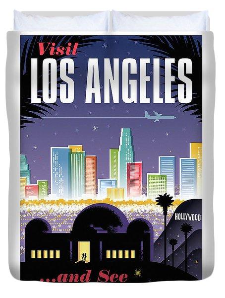 Los Angeles Retro Travel Poster Duvet Cover by Jim Zahniser