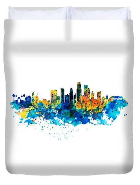 Los Angeles Skyline Duvet Cover by Marian Voicu
